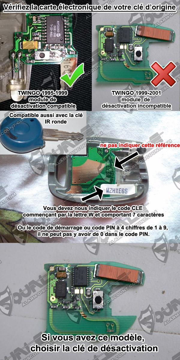 desactiver anti demarrage renault twingo 1995 2001 solution chez alarm. Black Bedroom Furniture Sets. Home Design Ideas